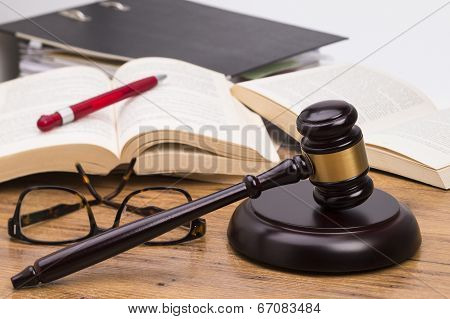 Wooden gavel on a table
