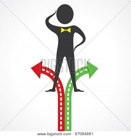 Confused man for right choice stock vector