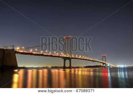 Bronx-whitestone Bridge At Night