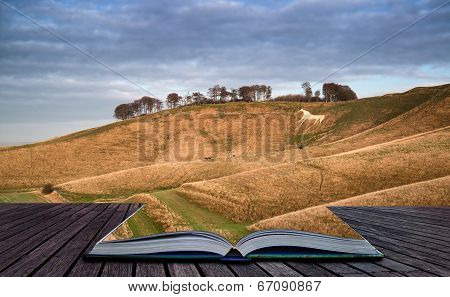 Ancient Chalk White Horse In Landscape During Autumn Evening Creative Concept