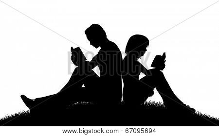 Editable vector silhouette of a couple sitting outside reading with figures as separate objects