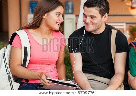 Flirting And Listening To Music