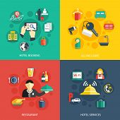 Hotel accommodation services concept flat icons set of room booking business trip restaurant food and reception bell for infographics design web elements vector illustration poster
