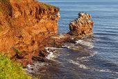 The rocky shore of Prince Edward Island at daybreak illuminating the cliffs and rocks bright red. A colony of cormorants clings to a distant rock stack. poster