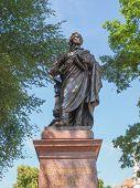 The Mendelssohn Denkmal monument to German musician Jakob Ludwig Felix Mendelssohn Bartholdy was designed by Werner Stein in 1892 in Leipzig Germany poster