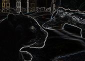 Black Panther Abstract ouline on black background poster