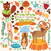 Vector Set of Cute Woodland and Forest Animals.Gopherbeaver goat ant ladybug rabbit mosquito snail.(All objects are isolated groups so you can move and separate them poster