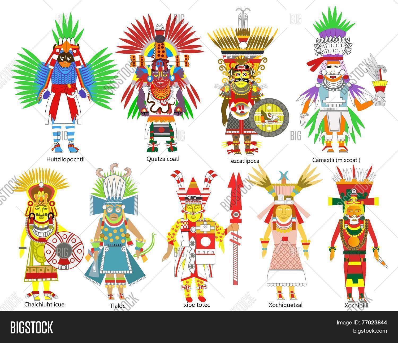 Set Ancient Aztec Gods Image & Photo (Free Trial) | Bigstock