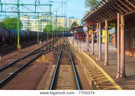 Railroad station in Karlsbad, Sweden