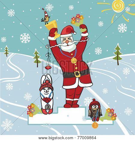 Santa winner on podium.Humorous illustrations