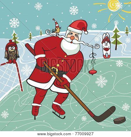 Santa playing ice hockey.Humorous illustrations.Winter sport