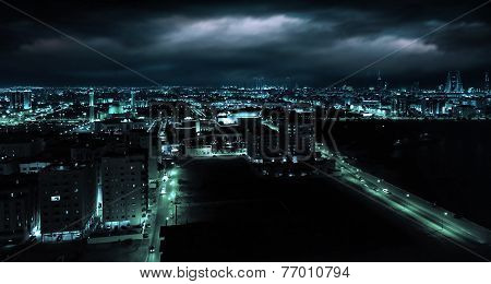 Blue toned photo. Night view of Manama capital city of Bahrain Middle East poster