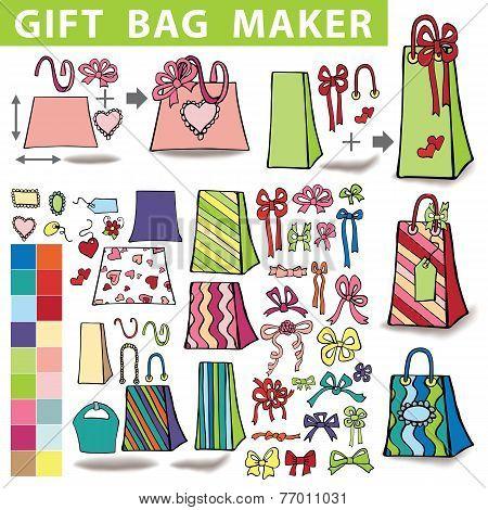 Gift bags maker.Colorful Doodle set