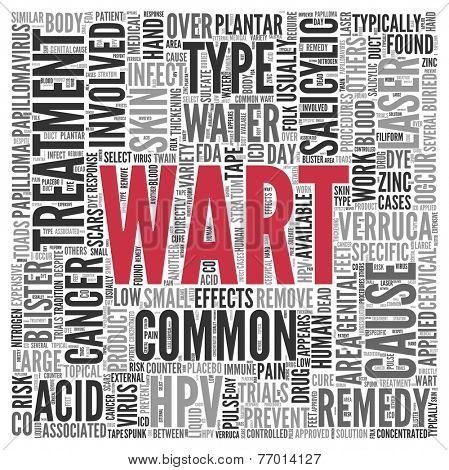 Large Red Wart Text with Black and Gray Related Words in Word Tag Cloud on White Background