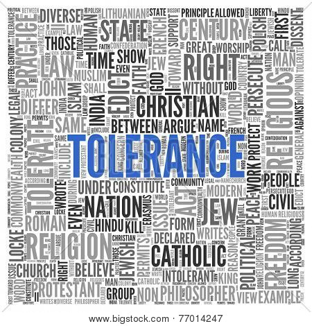 Close up Blue TOLERANCE Text at the Center of Word Tag Cloud on White Background.