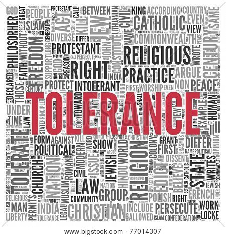 Close up Red TOLERANCE Text at the Center of Word Tag Cloud on White Background.