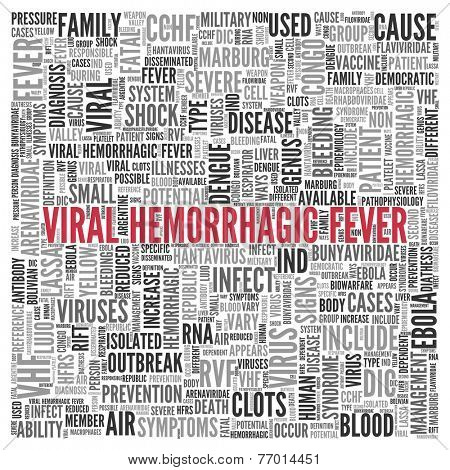 Red Viral Hemorrhagic Fever Texts and Related Keywords in Simple Word Tag Cloud Design.