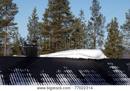 Lot Of Snow On The Roof At Winter