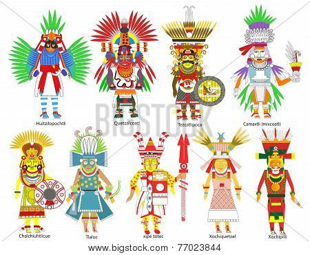 A set of Ancient Aztec gods