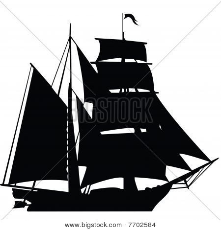 Black Silhouette Of Sailing Ship