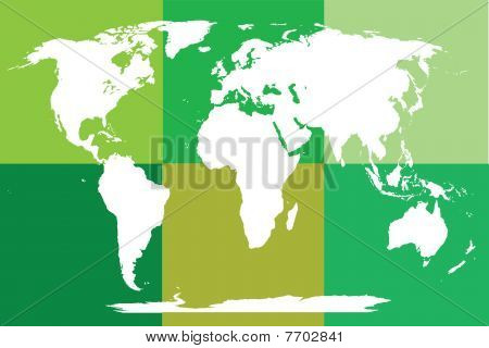 Green Puzzled World Map