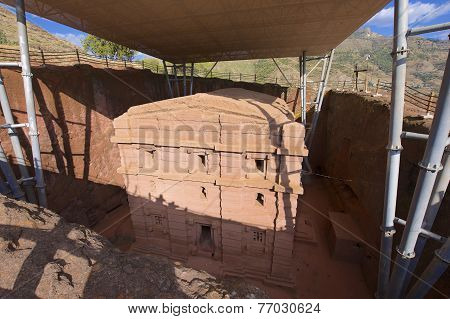 Unique monolithic rock-hewn church Lalibela Ethiopia. UNESCO World Heritage site.