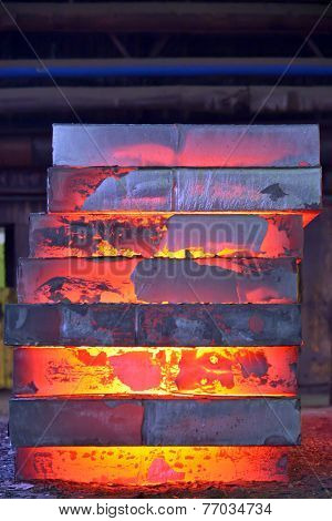 Stack of steel plates inside of plant