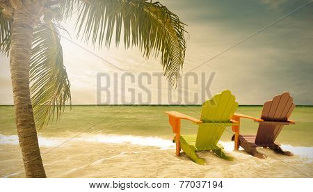 Miami Beach Florida lounge chairs and palm trees