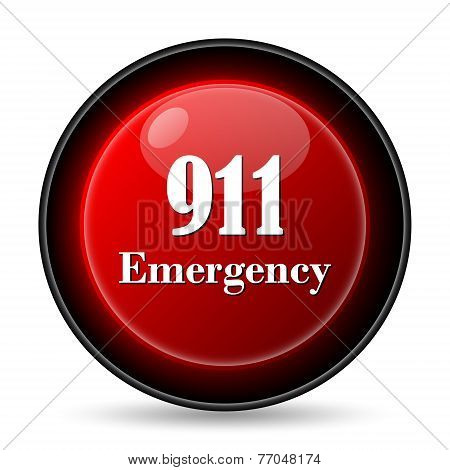 911 Emergency icon. Internet button on white background. poster