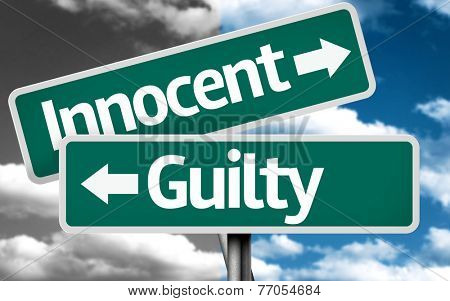 Innocent x Guilty creative sign with clouds as the background
