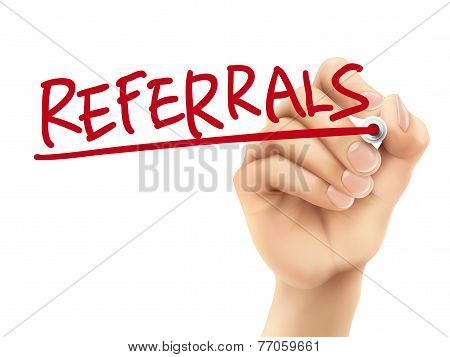 Referrals Word Written By Hand