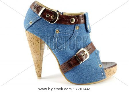 woman high hell open toe jeans shoe