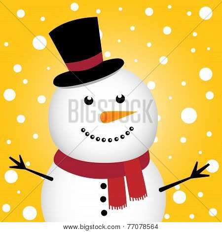 Happy Snowman on snow background