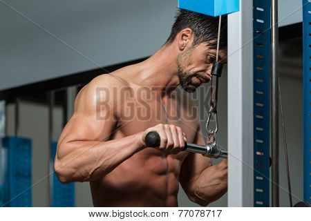 Young Athlete Doing Heavy Weight Exercise For Triceps poster