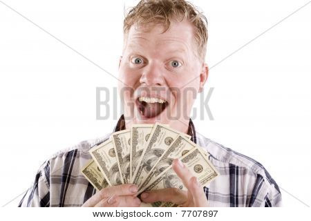 Man Excited About Money