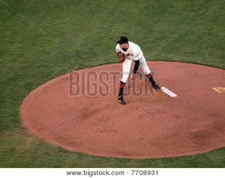 Giants Pitcher Barry Zito Looks In For A Signal