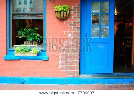 Brightly Colored Restaurant Facade