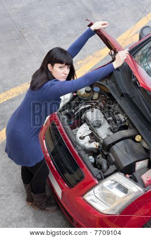 Girl And Car Breakdown