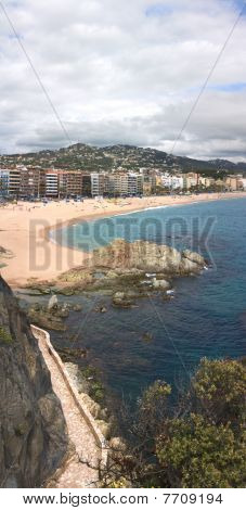 Vertical Panorama Of Lloret De Mar (girona, Spain)