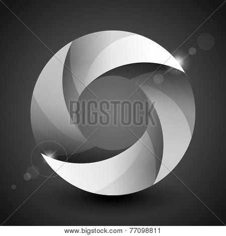 Moebius origami gray and white paper circle