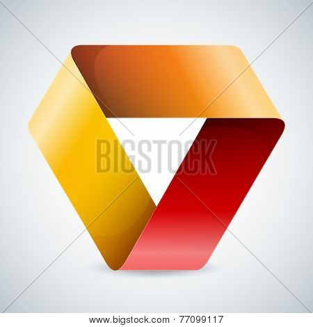 Moebius origami colorful paper triangle on white background