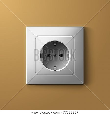 Realistic electric white socket on biege wall background