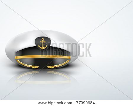 Light Background Captain peaked cap with gold anchor on cockade
