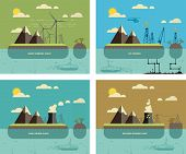Ecology Concept. Environment, Green Energy and Nature Pollution Designs. Nuclear, coal, wind turbines power Plants and oil towers. Flat Style. poster