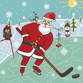 Christmas,New year Illustration,card. Santa Claus playing ice hockey. Near hare and owl,forest landscape.Trendy flat design,simple image.Winter sport.Vector humorous Illustration. poster