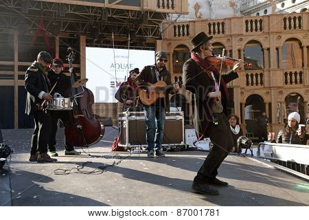 Musician Band Play Music At The Stage Of Grand Theatre,venice Carnival