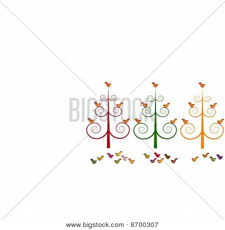 Three stylized Christmas trees and birds