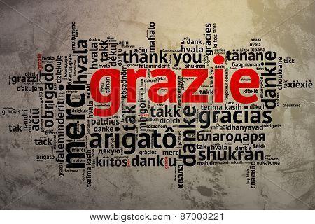 Italian - Grazie, Open Word Cloud, Thanks, Grunge Background