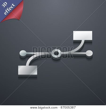Bezier Curve Icon Symbol. 3D Style. Trendy, Modern Design With Space For Your Text Vector