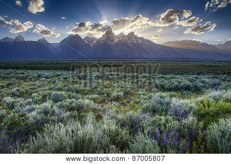 Sunset Behind The Teton Range